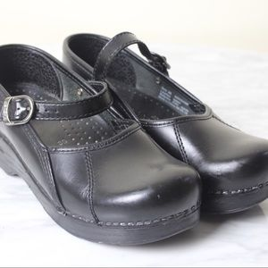 Dansko Marcelle Black Leather Mary Jane Clogs